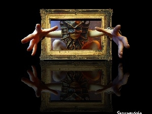 Mask, frame, reflection, hands