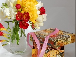 color, Boxes, ribbon, Freesias