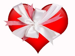 Red, White, ribbon, Heart