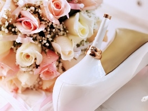 bouquet, heels, rings, rouge