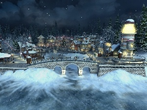 River, bridge, Lighthouse, Frozen, Town