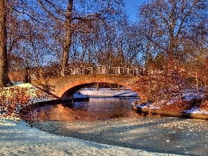 River, winter, bridge