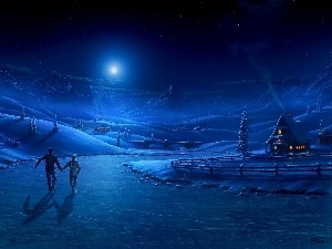 Frozen, winter, skaters, Mountains, River, Night