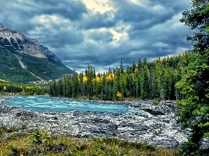 Mountains, woods, River, clouds
