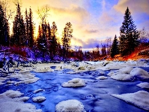 River, Christmas, winter