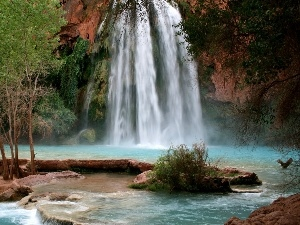trees, waterfall, rocks, Arizona, viewes, Havasu