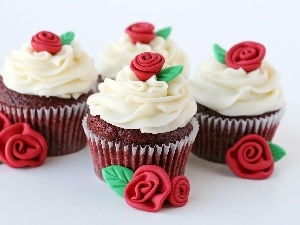 Muffins, ornamentation, roses, cream