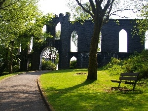 ruins, castle, trees, viewes, Park