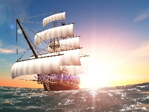 Great Sunsets, sea, sailing vessel