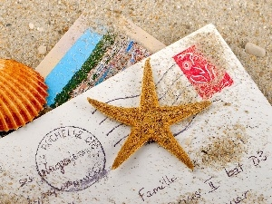 Postcards, starfish, Sand, shell