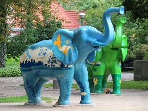 blue, Elephant, sculpture, Green