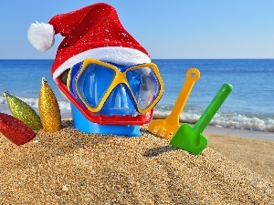 sea, christmas, Beaches