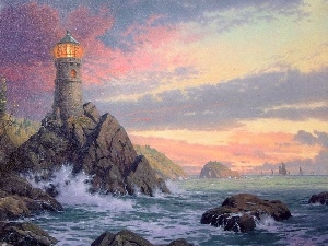 Lighthouse, rocks, sea, maritime