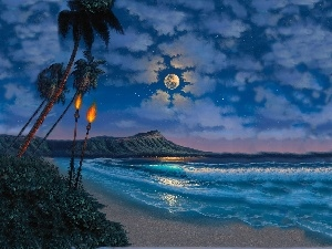 sea, moon, Palms, Torch, Beaches