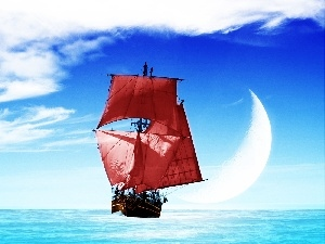 sea, Sky, Red, sails, sailing vessel