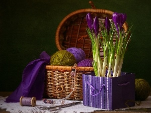 sewing, crocuses, accessories, Do, composition