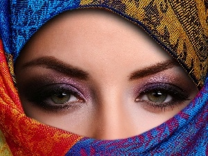 girl, Coloured, shawl, make-up