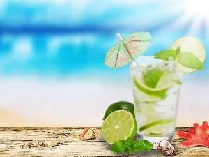 Shells, lemonade, limes