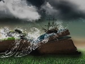 Ship, clouds, book, Waves, grass