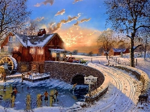 winter, Watermill, Skates, bridge