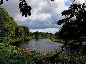 River, cloudy, Sky, green