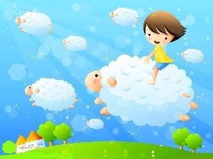 Sky, Kid, sheep
