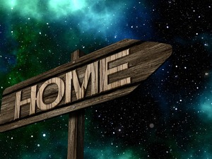 Sky, star, text, home, sign-post