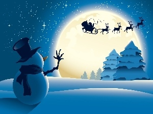 viewes, Snowman, sleigh, Santa, moon, trees