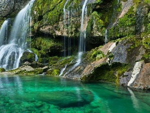 waterfall, lake, Slovenia, rocks