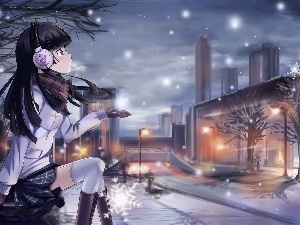 snow, girl, buildings