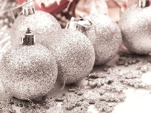 Silver, flakes, snow, baubles