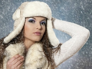 Women, make-up, snow, Hat