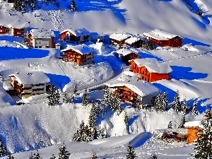 Snowy, Houses, Mountains, Valley, winter