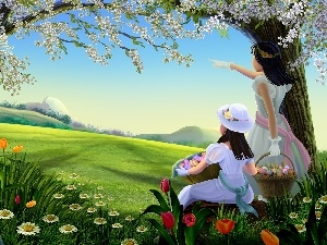 Spring, Flowers, girls, eggs, Easter
