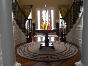hall, carpet, Stairs, vases