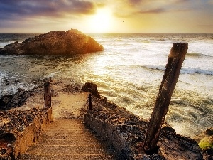 Stairs, sea, Islet