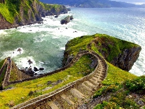 Stairs, sea, Mountains