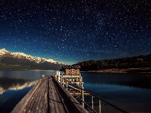 star, Platform, Mountains, Night, lake