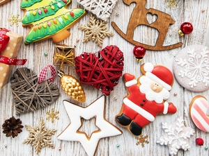 ginger, Christmas, baubles, Stars, hearts, ornamentation