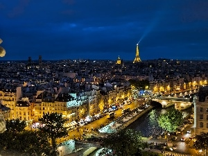 panorama, Night, Statue monument, Paris