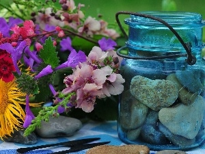 bouquet, jar, Stones, Flowers