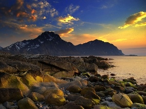 stony, coast, sun, rocks, west