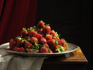 strawberries, Table, plate