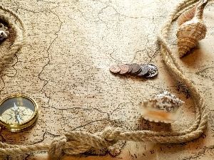 string, Shells, Map, compass, Old
