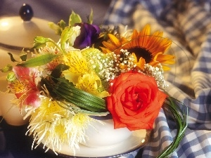 small bunch, cup, sugar-bowl, flowers