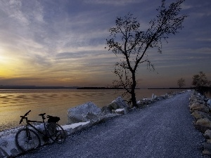 sun, Bike, lake, west, Way