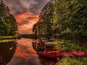 sun, boats, River, west, forest