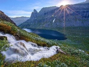 Mountains, rays, sun, waterfall