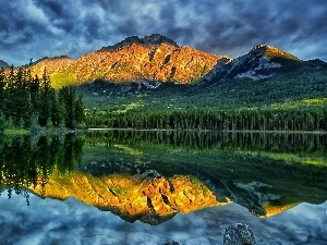 woods, Mountains, sun, reflection, lake, clouds