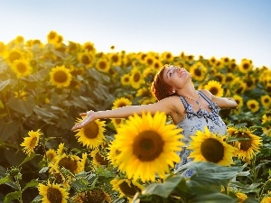 happy, Field, sunflowers, girl